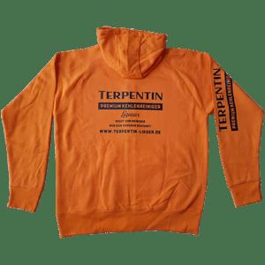 Stylische orange Sweatjacke im Terpentin Design