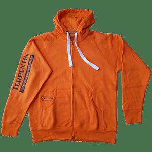 Coole Sweatjacke (orange) mit Terpentin Schriftzug und praktischem Zipper.